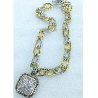 Wholesale (N-83) New Women's Jewelry Two Tone Silver Plated Pave Rhinestone Square Pendant Oval Link from china suppliers
