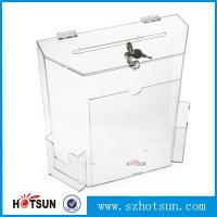 Quality Innovative Wall Mount Donation Box with Lock and Key, Clear Acrylic Charity Box Donation for sale