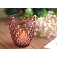 Wholesale Diamond Votive Handmade Glass Candle Holders , Glass Candle Jars Spraying Color Finish from china suppliers