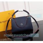 China Young Girl Top Clone LV handbag Blue Genuine Leather ladies bag Soft Shoulder Bag for sale