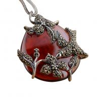 Wholesale Sterling Silver Vintage Red Agate Marcasite Charm Pendant Necklace (N808070) from china suppliers