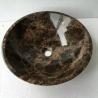 Dark Emperador Marble Bathroom Vessel Sink Round Wash Basin for sale