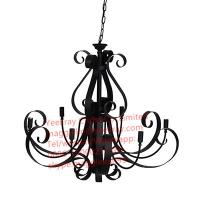 Wholesale YL-L1024 Retro Black Pendant Lamp Chandelier Lighting 5 Candle Wrought Iron Light Hanging Ceiling Fixtures from china suppliers