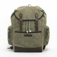 Wholesale 16oz Canvas / Leather Travel Camping Hiking Backpack Army Green Drawstring Closure from china suppliers