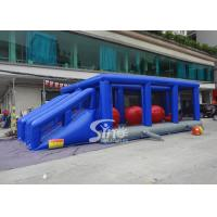 Wholesale Outdoor double lane adults interactive inflatable assault course with big bouncing balls from china suppliers
