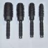 Plastic Handle + Nylon Bristle Black Unique Design Round Hair Brush for sale