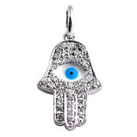 Wholesale Unisex Hamsa Hand Jewelry White Enamel And Blue Evil Eye Hamsa Hand Pendant from china suppliers