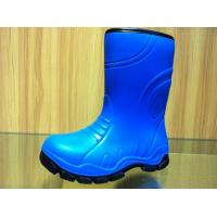 China Little Boy Funky Blue Childrens Rain Boots Lambs Wool Lining on sale