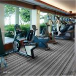China Indoor PVC Carpet Flooring Double Stripe Level Loop Pile Plain Style for sale