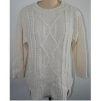 Quality Breathable Oversized Knit Sweaters White With 5gg Big Gauge Knitting Patterns for sale