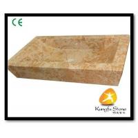 Xiamen Kungfu Stone Ltd supply Yellow Marble Bathroom Basin For Indoor Kitchen,Bathroom for sale