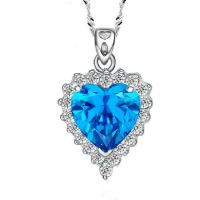 Wholesale Sterling Silver Created Blue Topaz Heart Pendant Necklace for Women (N12281) from china suppliers
