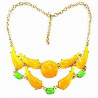 Wholesale Fashionable Necklace with Colorful Resin Stone, Made of Alloy and Resin from china suppliers