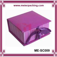 Wholesale Custom paper gift box with ribbon/Noble purple rigid paper box for apparel ME-SC009 from china suppliers