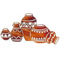 Wholesale Contemporary Interior Metal Wall Sculpture Natives Pottery shape Rusty Finish from china suppliers