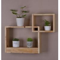 China Decorative Style 2 Primary varnish finish Cube Intersecting Wooden Wall Display Mounted Floating Shelves on sale