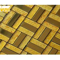 Wholesale Non Fade Color Mix Strip Gold Mosaic Tiles , Home Decorative Metal Tiles from china suppliers