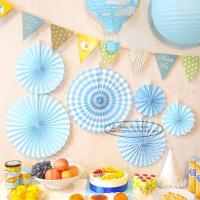 China Candy Color Paper Fan Suit  Wedding Dessert Table Decorations for sale