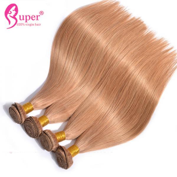 Quality #27 Dark Blonde Human Virgin Hair Bundles / Straight Blonde Ombre Weave for sale