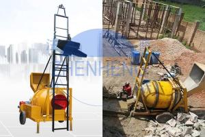 Wholesale Hydraulic Hopper 350L 14m³/H JZR350T Diesel Cement Mixer With Ladder from china suppliers