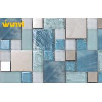 Wholesale Blue Ice Cracked Mosaic Glass Kitchen Backsplash Tile With Stainless Steel from china suppliers