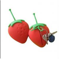 Wholesale strawberry silicone key case ,fruit shape silicone card holder from china suppliers