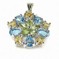 Wholesale Fashionable 925 Silver Pendant with Natrural Topaz, Citrine and Garnet Gemstones from china suppliers