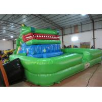 Crocodile cartoon themed inflatable water slide with big water pool big inflatable crocodile water pool slide for sale