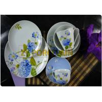 16 Piece Coupe Shaped Plate Custom Size , Blue Dining Tableware Sets Heat Resistant for sale