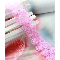 Wholesale pink 2row 3D rose venise lace fabric trim sewing DIY dress cloth/doll L269 from china suppliers