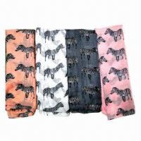 Wholesale Fashionable Voile Scarves with Zebra Pattern Printed, Various Colors are Available from china suppliers