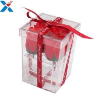 China Flower Packing Clear Acrylic Box Display Cases Organizer Rose Gift Box With Cover for sale