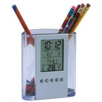 Quality OEM Multi-function Professional Electric Digital Clocks, Acrylic Pen Container for sale