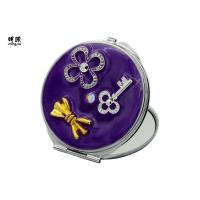 China Purple Butterfly Small Compact Mirror For Purse Soft Enamel Fill on sale