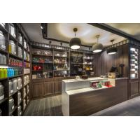 Wholesale Chinese Tea shop fits out Dark Walnut solid wood in-Wall cabinets with Shelves and reception counters from china suppliers