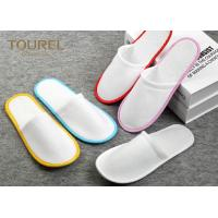 Wholesale Brush Fabric Dispsable Closed Toe Spa Slippers White Color Red Edge from china suppliers