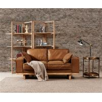 China Light Brown Sectional 2 Seater Leather Sofa Hand Work Craft American Vintage Style on sale