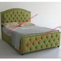 China Water green fabric bed by upholstery pad headboard in button and antique nail for Apartment Bedroom suite on sale