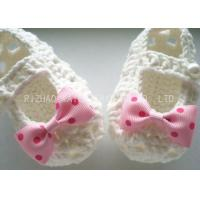 Creme Crochet Baby Shoes Hollow Out With Lace Bowknot , Knitted Baby Girl Shoes
