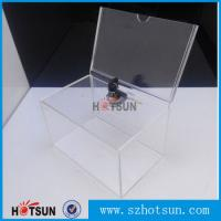 Wholesale Custom box Plexiglass acrylic donation/tips/sugguestion box with sign holder from china suppliers