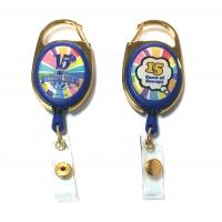 Wholesale Epoxy Logo Dome Oval Custom Retractable Badge Reels , Badge Reel Clips from china suppliers