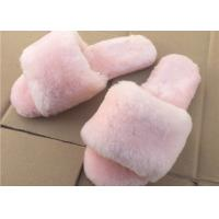 Quality Pink / Gray Ladies Open Toe Sheepskin Slippers With Soft Rubber Sole for sale