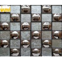 Wholesale 48 × 48mm Round Grey and Gold Glass Mosaic Tile Chips For Indoor Building from china suppliers