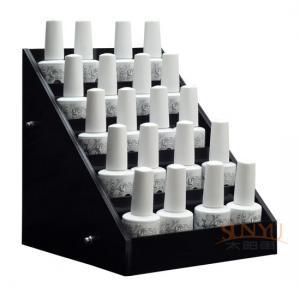 Quality Acrylic 5 Tier Nail Polish Counter Display Black MDF OEM Logo Printing for sale