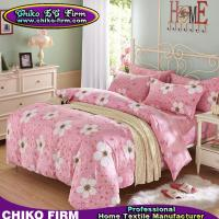 China Pink and Flower Design Cotton  2 Pillow Shams 1 Flat Sheet 1 Duvet Cover Bedding Sets on sale