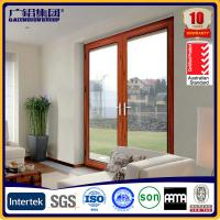 wooden color aluminium glass double sashes swing doors