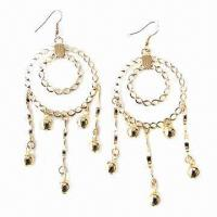 Wholesale Fashionable Hoop Drop Earrings with Screwy Metal Decoration from china suppliers