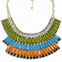 Wholesale Fashionable Necklace, Cup-chain Design, Decorated with Multicolor Resin and Rhinestone from china suppliers