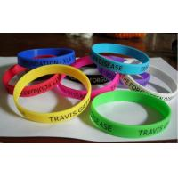 Silicone Colored Rubber Bracelets With Silk Screen Print  202 * 12 * 2mm for sale