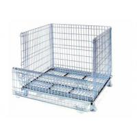 Buy cheap Zinc stacking collapsible wire mesh pallet container with wheels from wholesalers